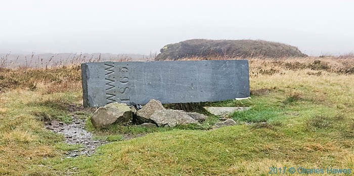 Boundary stone of Watkins-Williams-Wynn photographed from the Cambrian Way by Charles Hawes