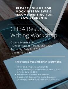 chba resume writing workshop mock interviews charles houston bar