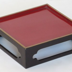 Black and Red Lacquer Tray with Gold Trim