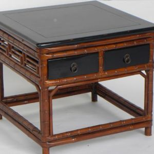 Bamboo Low Table with Black Lacquer Top, Shanxi Province, China, c. 1796-1820