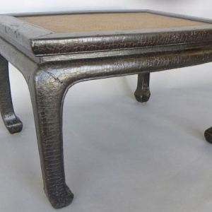 Black Crackle Lacquer Elm Stool with Cane Top, Shanxi Province, China, c. 1750