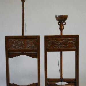 Elm Wood Lacquer Oil Lantern Stands, Shanxi Province, China, c. 1860
