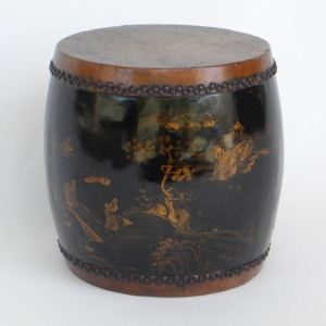 Black Lacquer Gilt Painted Small Drum, Shanxi Province, China, Late 19th Century, Top D. 23″