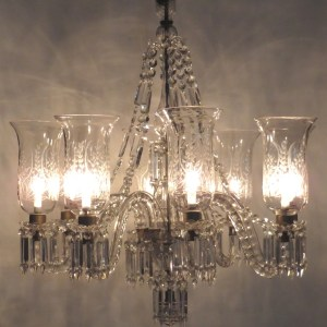 Eight Light Etched Glass Chandelier