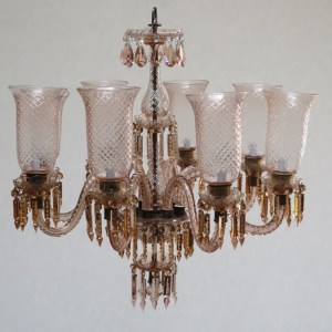 8-Light Etched Glass Chandelier