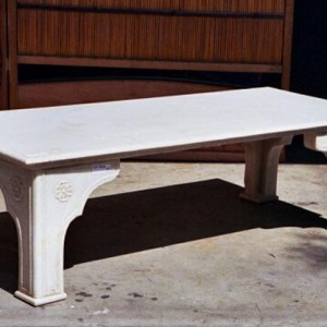 Hand Carved White Marble Bench