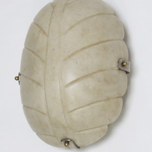 Hand Carved White Marble Leaf Wall Sconce