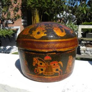 Painted wooden Box with Lid