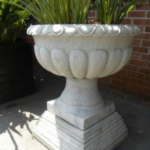 Carved White Marble Planter