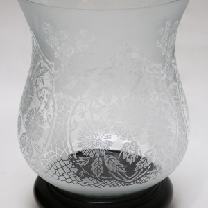 Indian Etched Glass Hurricane with Mahogany Base