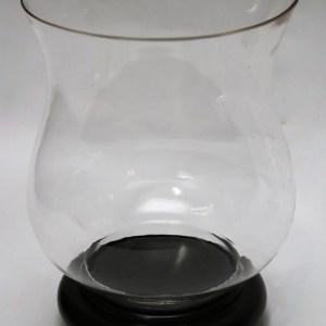 Clear Glass Hurricane with Mahogany Base