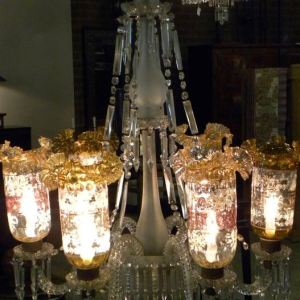 Indian 6 light Colored Glass Chandelier, India