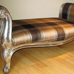 Silver Foiled Covered Wooden Divan. India.