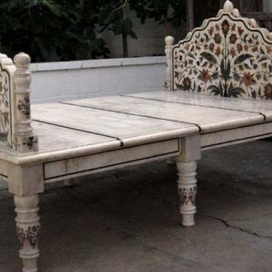 Marble Bed With Inlay