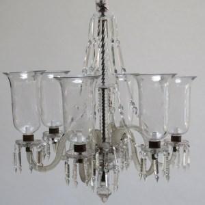 Six Light Glass Chandelier