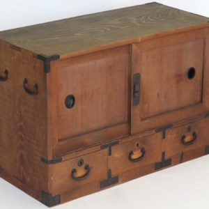 Tansu with sliding doors and three drawers