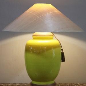 Yellow Table Lamp with Sugar Pine Shade