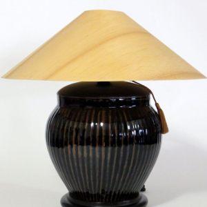 Temmoku Table Lamp with Sugar Pine Shade