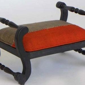 Ebony Foot Stool Upholstered with Palas