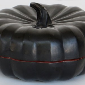 Lacquered Bamboo Food Container in the Shape of a Pumkin