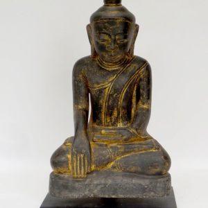 Burmese Seated Buddha Painted Sandsstone, Ava Period, Burma, 15 -16th Century