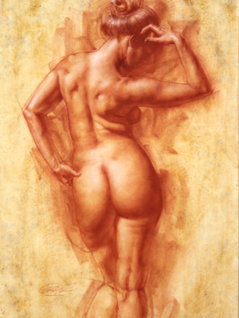 Femal figure from behind, red chalk on paper