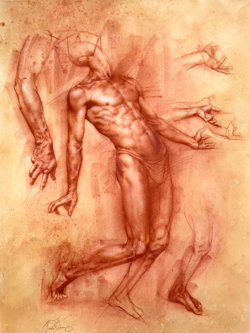 Charles Miano artwork Study of Achilles artwork Red Chalk on Paper