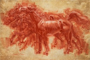Red Chalk Drawing by Charles Miano