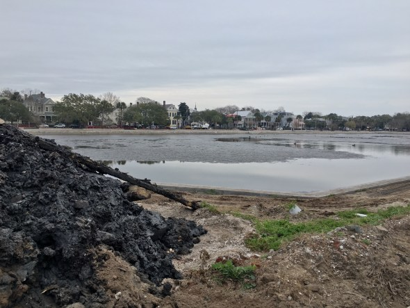 Massive mud pile and pit