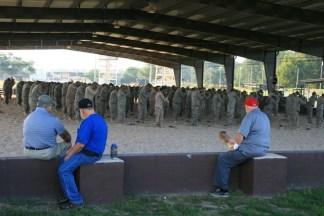 Charlie, Bill, Bud watching Airborne training