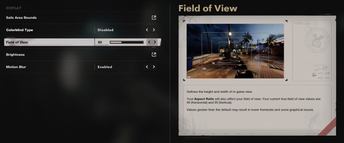 Settings for the field of view