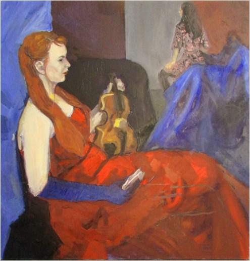 """""""Rebecca and Violin"""", oil on canvas, 90x90cm, 2015."""