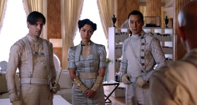 """As """"Lars"""" in INTO THE BADLANDS (AMC) - Chapter 14 with Eleanor Matsuura (Baron Chau) and Daniel Wu (Sunny)"""