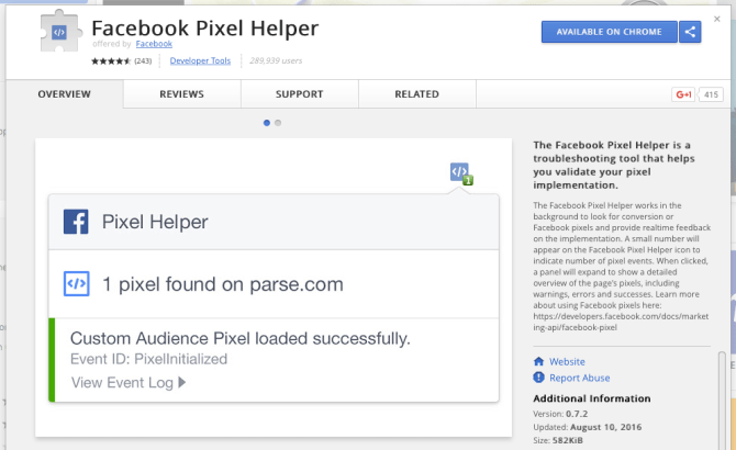 FB Pixel helper chrome extension