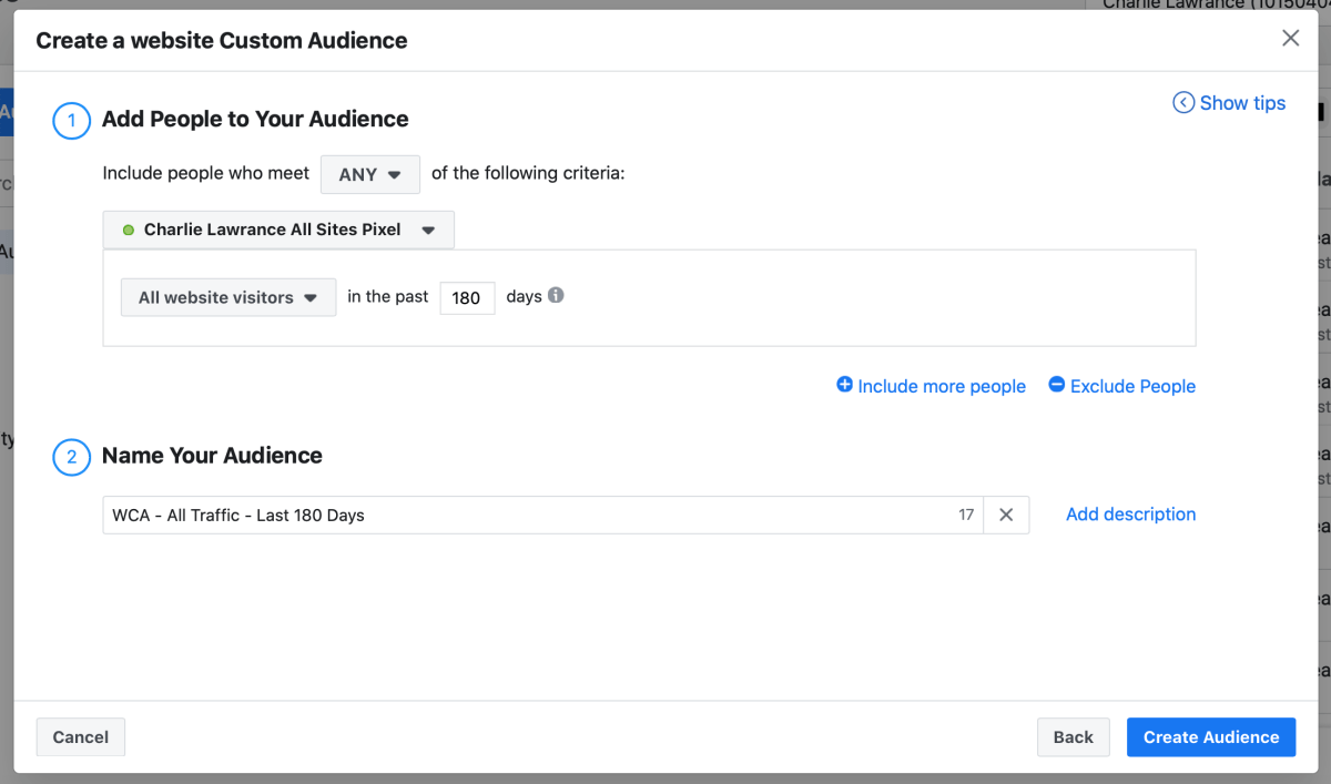 All traffic custom audience Facebook pixel
