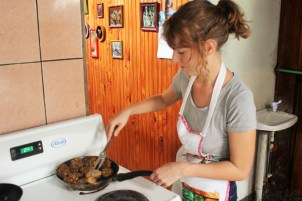 Vegan cooking Puerto Viejo - cooking green plantain balls - Charlie on Travel