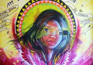 Art in the doorway of the market