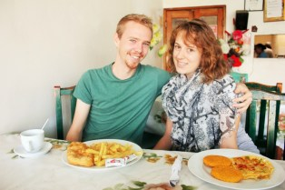 Us eating a Panamanian breakfast at Restaurante Corina