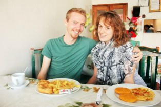 Us eating a Panamanian breakfast at Restaurante Corina