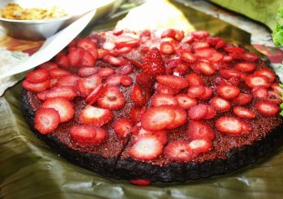 Raw strawberry cake at San Jose's market