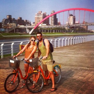 Katie and Ryan cycling in Taipei