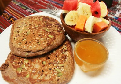 Seeded wholewheat pancakes and local honey