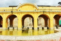 Yellow arches of the outdoor laundry area