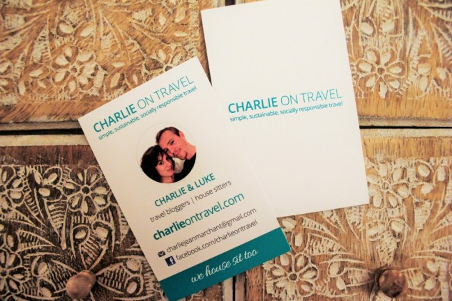Travel blog business cards for charlie on travel
