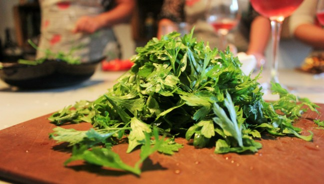 Barcelona Slow Travel Cooking Class - chopping coriander - Charlie on Travel