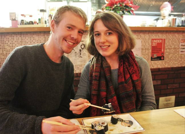 Charlie and Luke eat vegan sushi for vegan travel challenge Veganuary Week 1 - Charlie on Travel