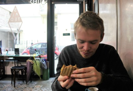 Salted Cafe - Luke and his vegan wrap - Vegan in Sofia - Charlie on Travel