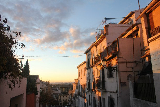 Sunset on Airbnb Street Granada Spain - Charlie on Travel