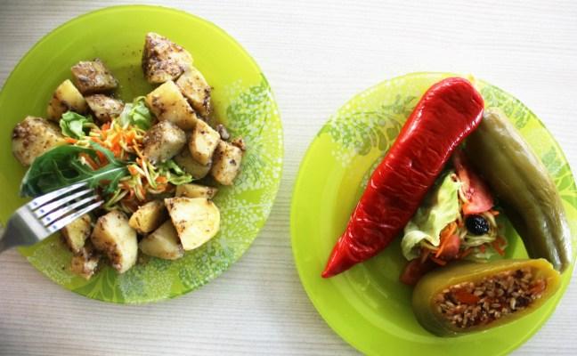 Vegan in Plovdiv Bulgaria - stuffed peppers at BioFresh - Charlie on Travel