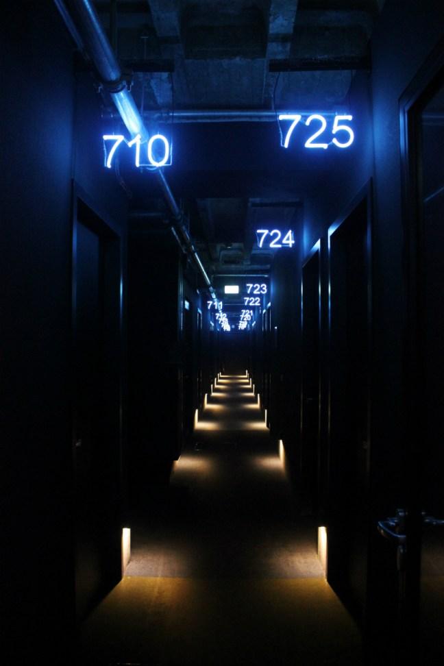 25hours Bikini Berlin Review - neon lit room corridor - Charlie on Travel